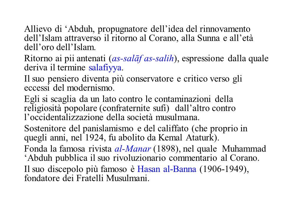 Allievo di 'Abduh, propugnatore dell'idea del rinnovamento dell'Islam attraverso il ritorno al Corano, alla Sunna e all'età dell'oro dell'Islam. Ritor