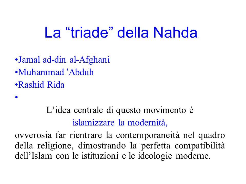 """La """"triade"""" della Nahda Jamal ad-din al-Afghani Muhammad 'Abduh Rashid Rida L'idea centrale di questo movimento è islamizzare la modernità, ovverosia"""