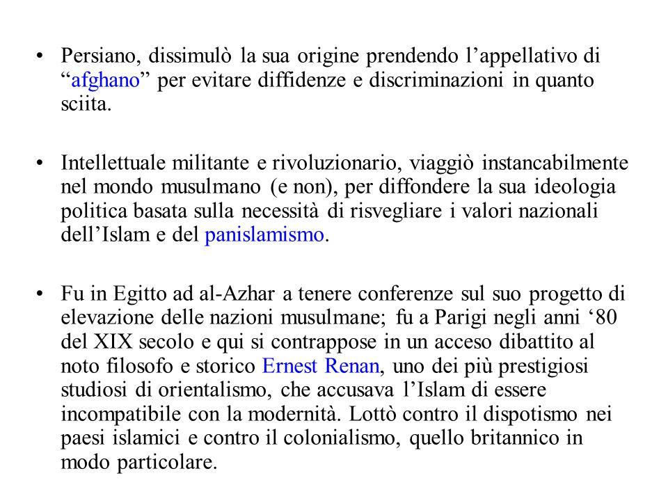 """Persiano, dissimulò la sua origine prendendo l'appellativo di """"afghano"""" per evitare diffidenze e discriminazioni in quanto sciita. Intellettuale milit"""
