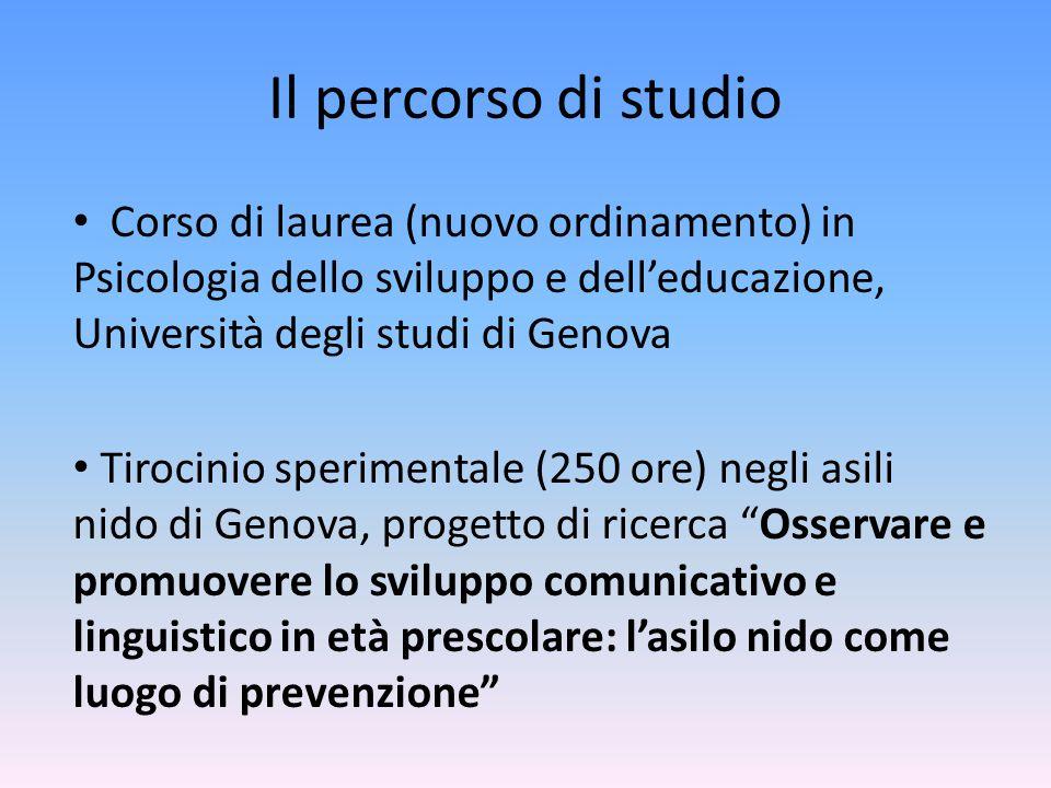 Il percorso di studio Corso di laurea (nuovo ordinamento) in Psicologia dello sviluppo e dell'educazione, Università degli studi di Genova Tirocinio s