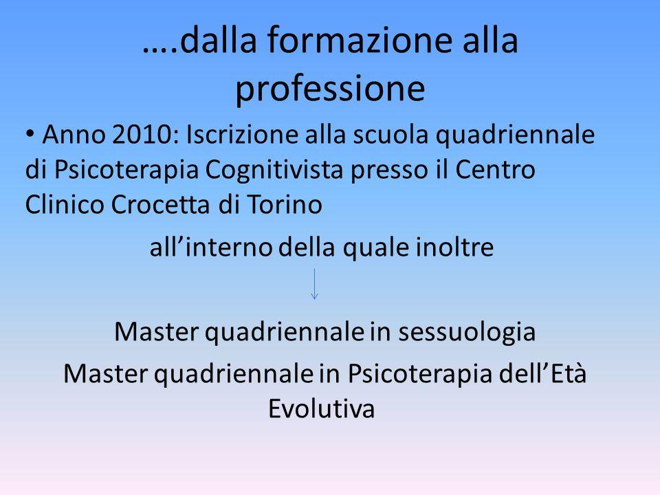 ….dalla formazione alla professione Anno 2010: Iscrizione alla scuola quadriennale di Psicoterapia Cognitivista presso il Centro Clinico Crocetta di T