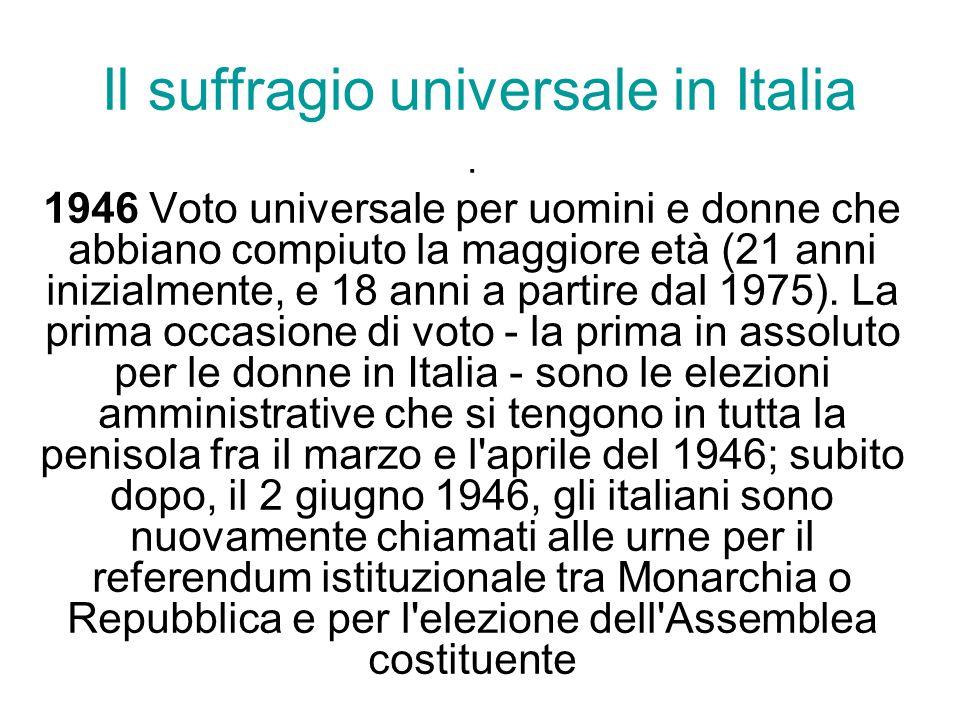 Il suffragio universale in Italia. 1946 Voto universale per uomini e donne che abbiano compiuto la maggiore età (21 anni inizialmente, e 18 anni a par
