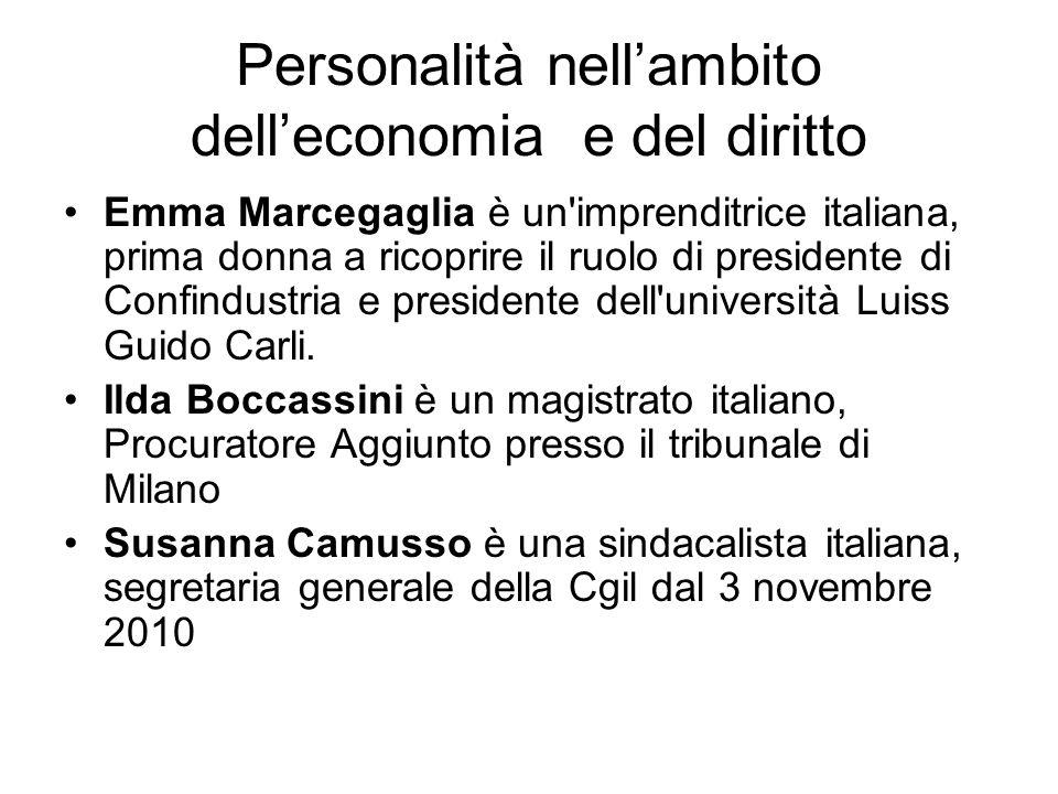 Personalità nell'ambito dell'economia e del diritto Emma Marcegaglia è un imprenditrice italiana, prima donna a ricoprire il ruolo di presidente di Confindustria e presidente dell università Luiss Guido Carli.