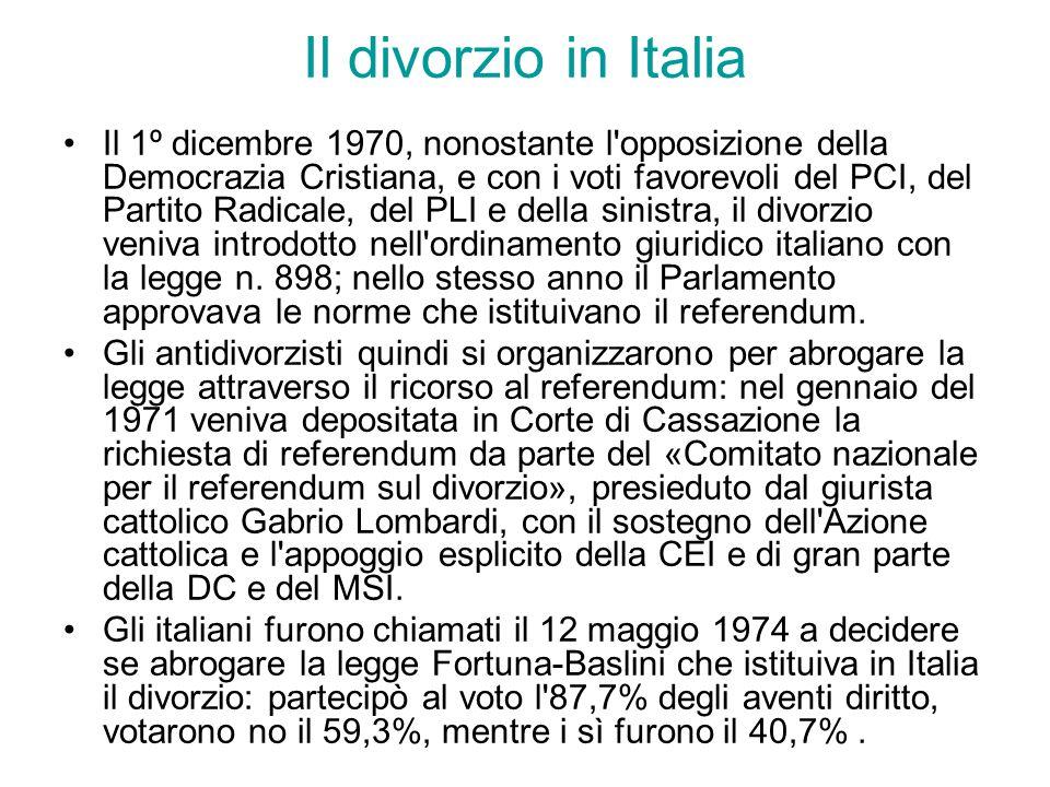 Il divorzio in Italia Il 1º dicembre 1970, nonostante l opposizione della Democrazia Cristiana, e con i voti favorevoli del PCI, del Partito Radicale, del PLI e della sinistra, il divorzio veniva introdotto nell ordinamento giuridico italiano con la legge n.