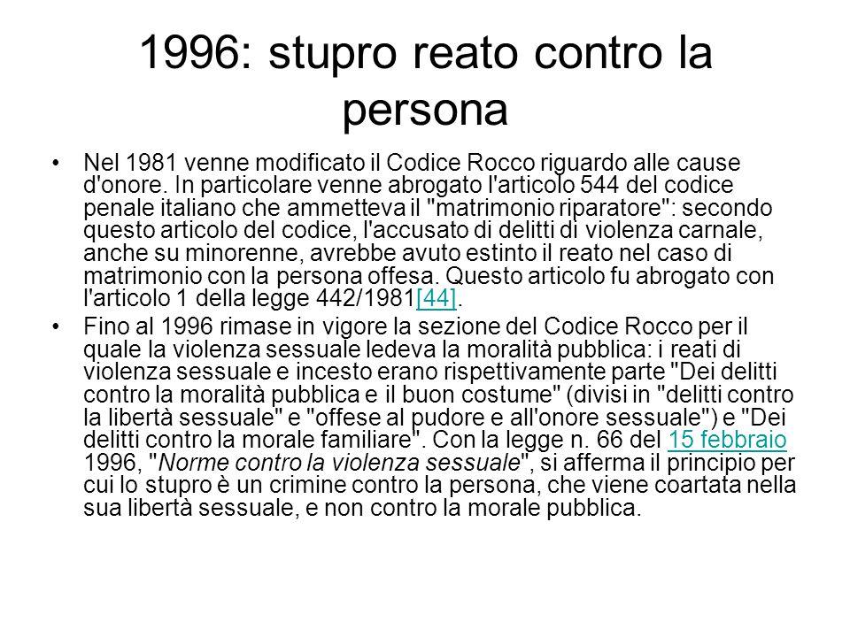 1996: stupro reato contro la persona Nel 1981 venne modificato il Codice Rocco riguardo alle cause d'onore. In particolare venne abrogato l'articolo 5