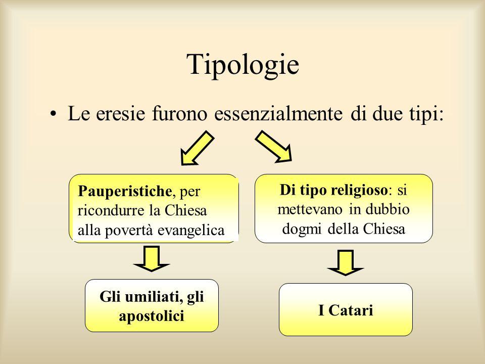 Tipologie Le eresie furono essenzialmente di due tipi: Pauperistiche, per ricondurre la Chiesa alla povertà evangelica Di tipo religioso: si mettevano in dubbio dogmi della Chiesa Gli umiliati, gli apostolici I Catari