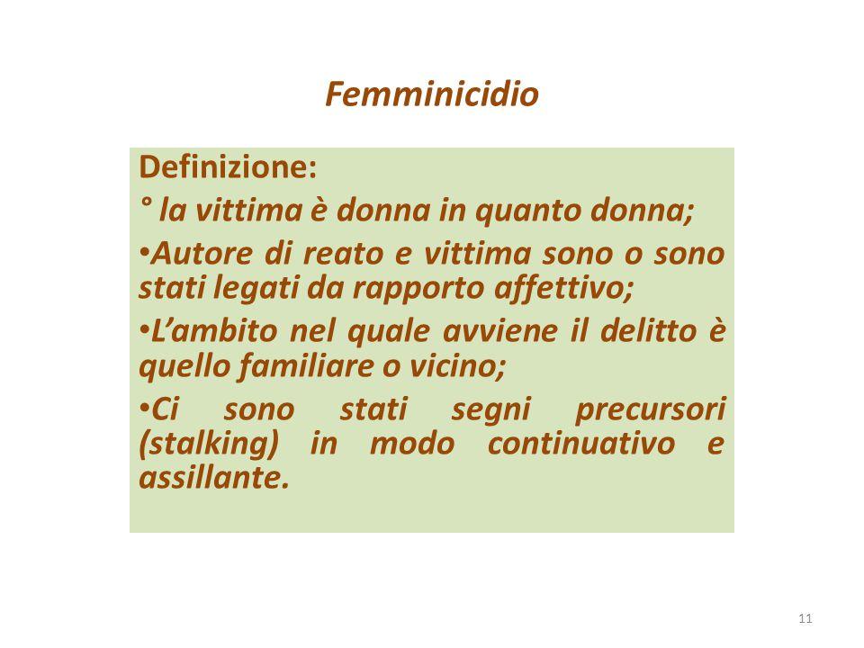 Femminicidio Definizione: ° la vittima è donna in quanto donna; Autore di reato e vittima sono o sono stati legati da rapporto affettivo; L'ambito nel