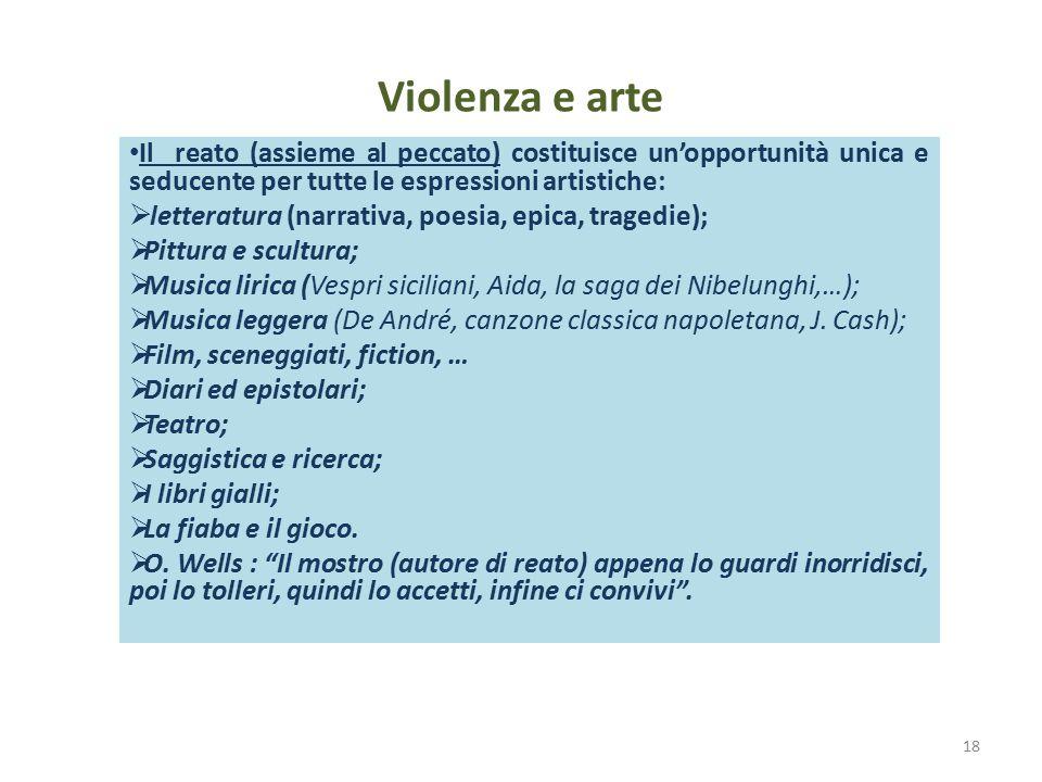 Violenza e arte Il reato (assieme al peccato) costituisce un'opportunità unica e seducente per tutte le espressioni artistiche:  letteratura (narrati