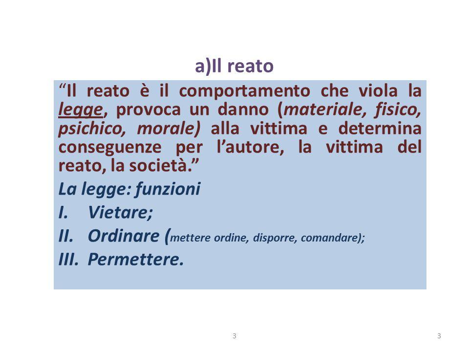 """a)Il reato """"Il reato è il comportamento che viola la legge, provoca un danno (materiale, fisico, psichico, morale) alla vittima e determina conseguenz"""