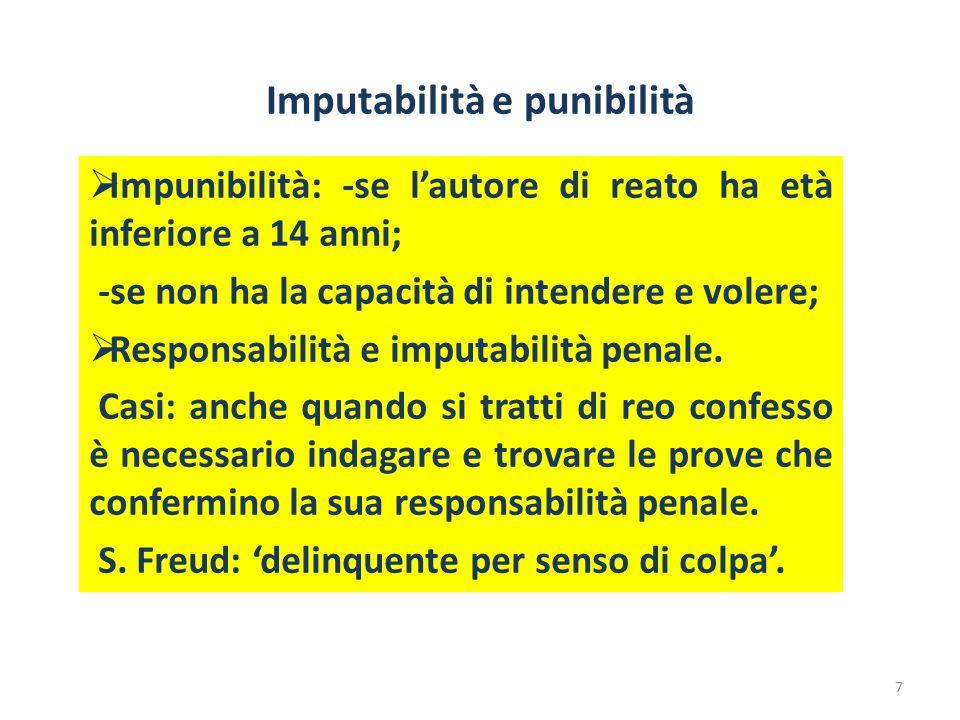 Imputabilità e punibilità  Impunibilità: -se l'autore di reato ha età inferiore a 14 anni; -se non ha la capacità di intendere e volere;  Responsabi
