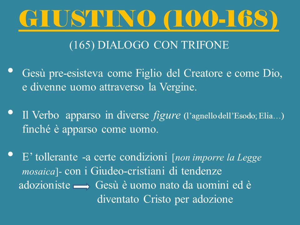 GIUSTINO (100-168) (165) DIALOGO CON TRIFONE Gesù pre-esisteva come Figlio del Creatore e come Dio, e divenne uomo attraverso la Vergine. Il Verbo app