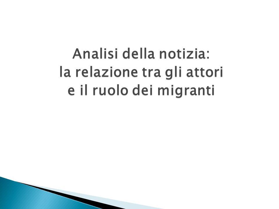 Analisi della notizia: la relazione tra gli attori e il ruolo dei migranti