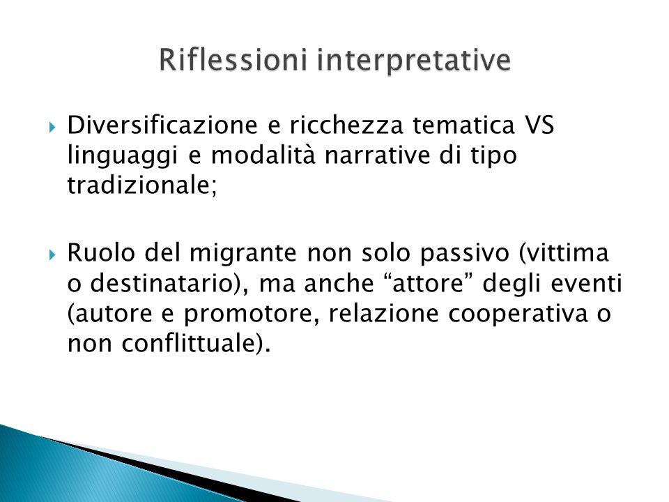  Diversificazione e ricchezza tematica VS linguaggi e modalità narrative di tipo tradizionale;  Ruolo del migrante non solo passivo (vittima o desti