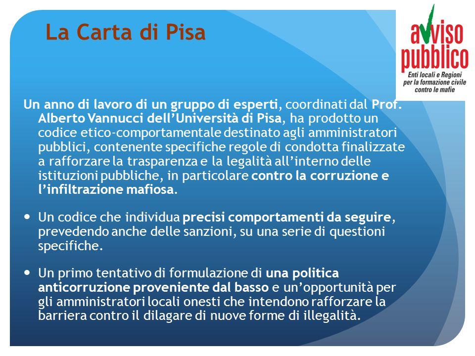 La Carta di Pisa Un anno di lavoro di un gruppo di esperti, coordinati dal Prof. Alberto Vannucci dell'Università di Pisa, ha prodotto un codice etico