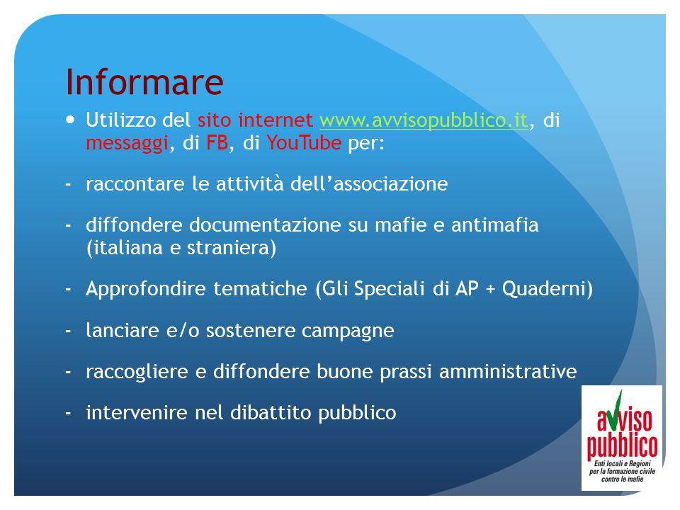 Informare Utilizzo del sito internet www.avvisopubblico.it, di messaggi, di FB, di YouTube per:www.avvisopubblico.it -raccontare le attività dell'asso