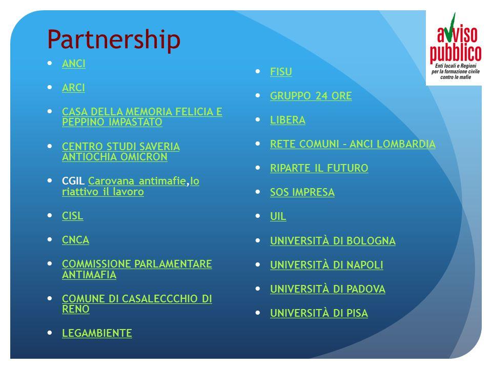 Partnership ANCI ARCI CASA DELLA MEMORIA FELICIA E PEPPINO IMPASTATO CASA DELLA MEMORIA FELICIA E PEPPINO IMPASTATO CENTRO STUDI SAVERIA ANTIOCHIA OMICRON CENTRO STUDI SAVERIA ANTIOCHIA OMICRON CGIL Carovana antimafie,Io riattivo il lavoroCarovana antimafieIo riattivo il lavoro CISL CNCA COMMISSIONE PARLAMENTARE ANTIMAFIA COMMISSIONE PARLAMENTARE ANTIMAFIA COMUNE DI CASALECCCHIO DI RENO COMUNE DI CASALECCCHIO DI RENO LEGAMBIENTE FISU GRUPPO 24 ORE LIBERA RETE COMUNI – ANCI LOMBARDIA RIPARTE IL FUTURO SOS IMPRESA UIL UNIVERSITÀ DI BOLOGNA UNIVERSITÀ DI NAPOLI UNIVERSITÀ DI PADOVA UNIVERSITÀ DI PISA