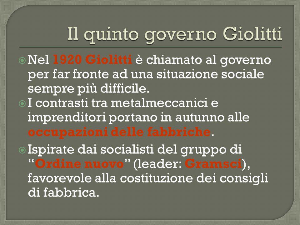  Nel 1920 Giolitti è chiamato al governo per far fronte ad una situazione sociale sempre più difficile.  I contrasti tra metalmeccanici e imprendito