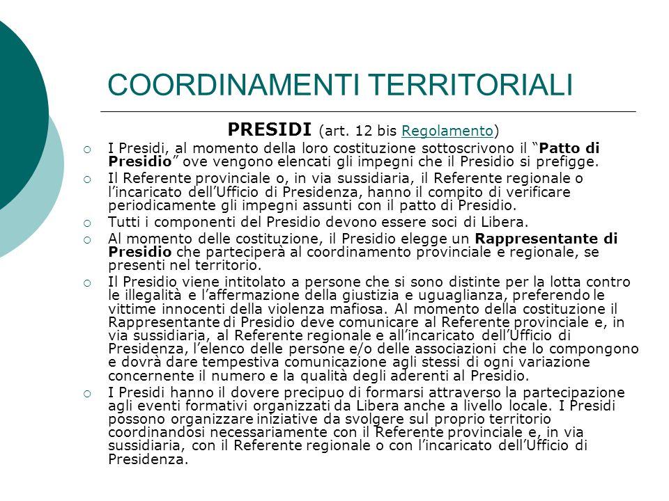 COORDINAMENTI TERRITORIALI PRESIDI (art.
