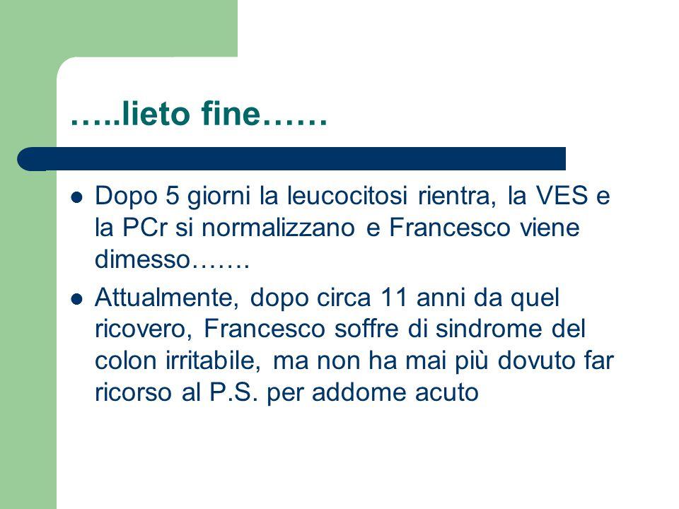 …..lieto fine…… Dopo 5 giorni la leucocitosi rientra, la VES e la PCr si normalizzano e Francesco viene dimesso……. Attualmente, dopo circa 11 anni da