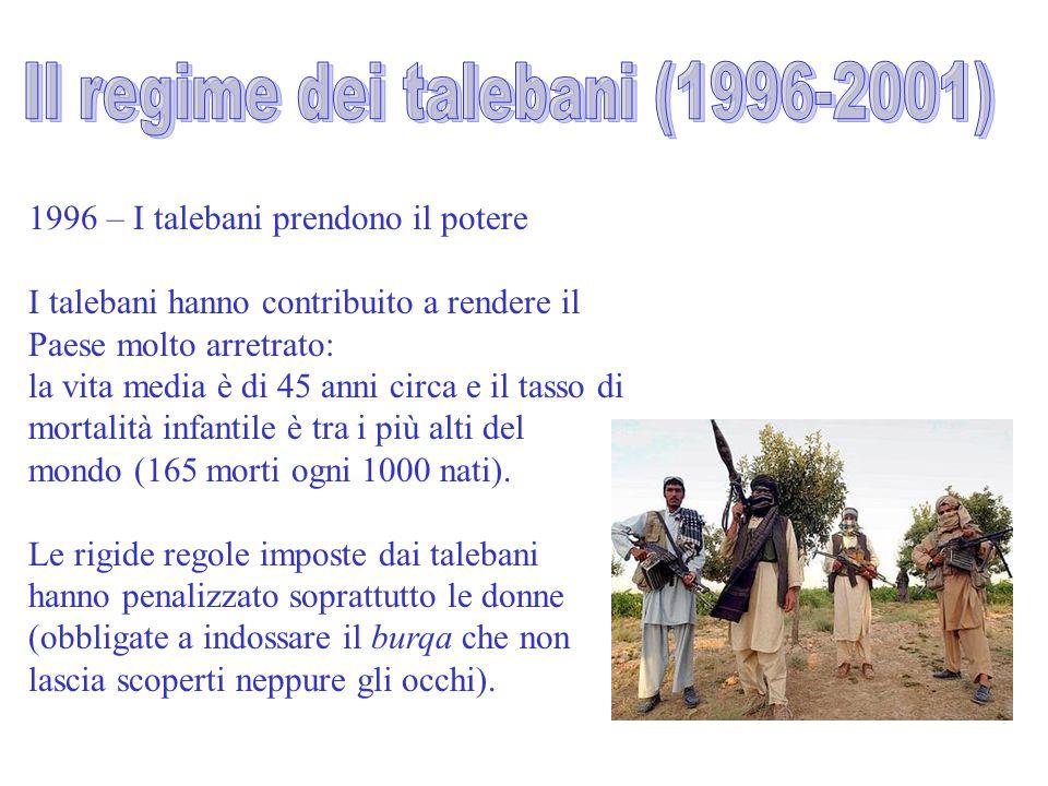 1996 – I talebani prendono il potere I talebani hanno contribuito a rendere il Paese molto arretrato: la vita media è di 45 anni circa e il tasso di m