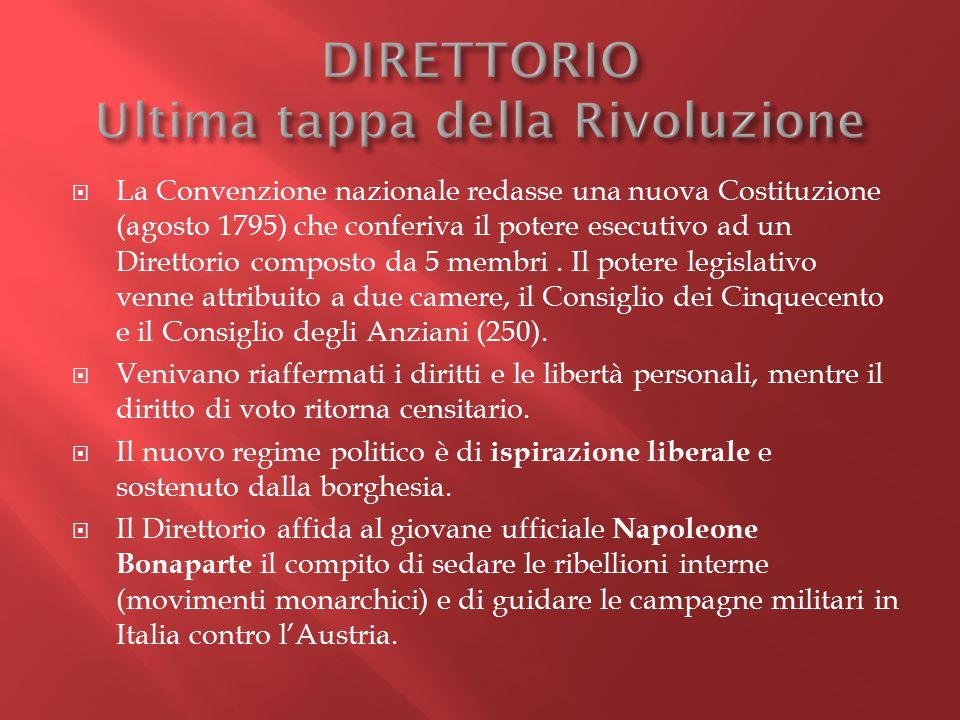  La Convenzione nazionale redasse una nuova Costituzione (agosto 1795) che conferiva il potere esecutivo ad un Direttorio composto da 5 membri. Il po