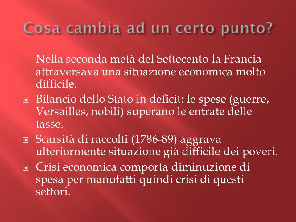 Nella seconda metà del Settecento la Francia attraversava una situazione economica molto difficile.  Bilancio dello Stato in deficit: le spese (guerr