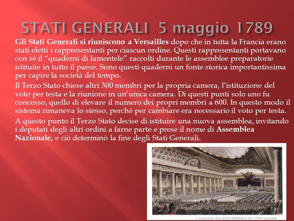 Gli Stati Generali si riuniscono a Versailles dopo che in tutta la Francia erano stati eletti i rappresentanti per ciascun ordine. Questi rappresentan