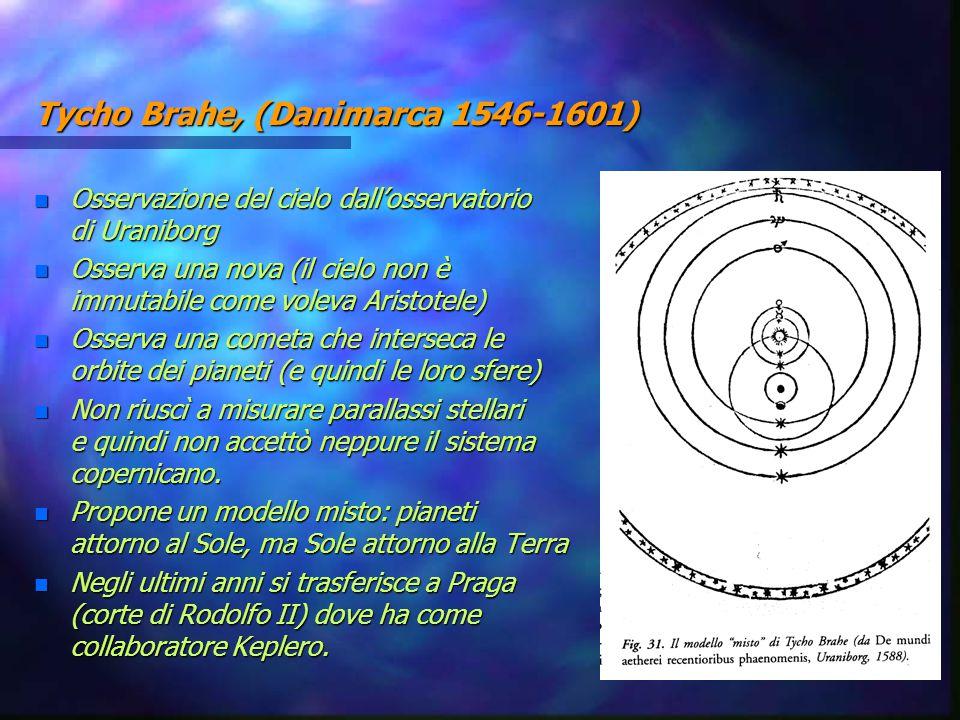 Tycho Brahe, (Danimarca 1546-1601) n Osservazione del cielo dall'osservatorio di Uraniborg n Osserva una nova (il cielo non è immutabile come voleva A