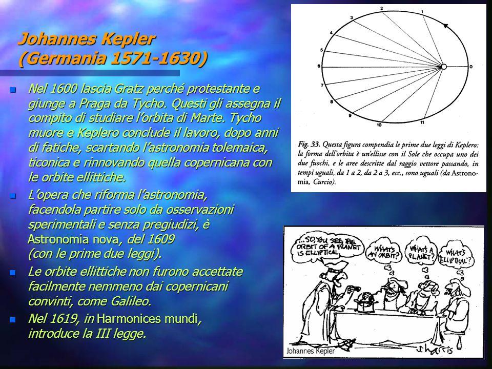 Johannes Kepler (Germania 1571-1630) n Nel 1600 lascia Gratz perché protestante e giunge a Praga da Tycho. Questi gli assegna il compito di studiare l