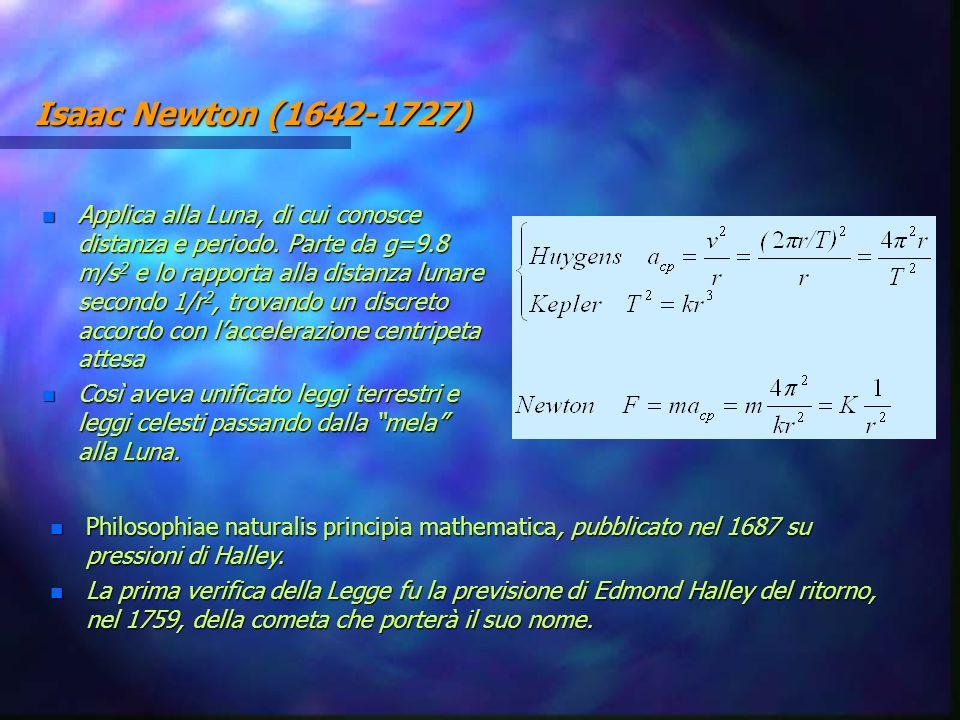 Isaac Newton (1642-1727) n Applica alla Luna, di cui conosce distanza e periodo. Parte da g=9.8 m/s 2 e lo rapporta alla distanza lunare secondo 1/r 2