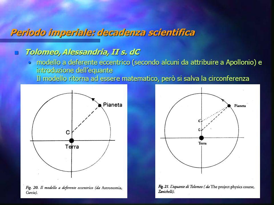 Periodo imperiale: decadenza scientifica n Tolomeo, Alessandria, II s. dC modello a deferente eccentrico (secondo alcuni da attribuire a Apollonio) e