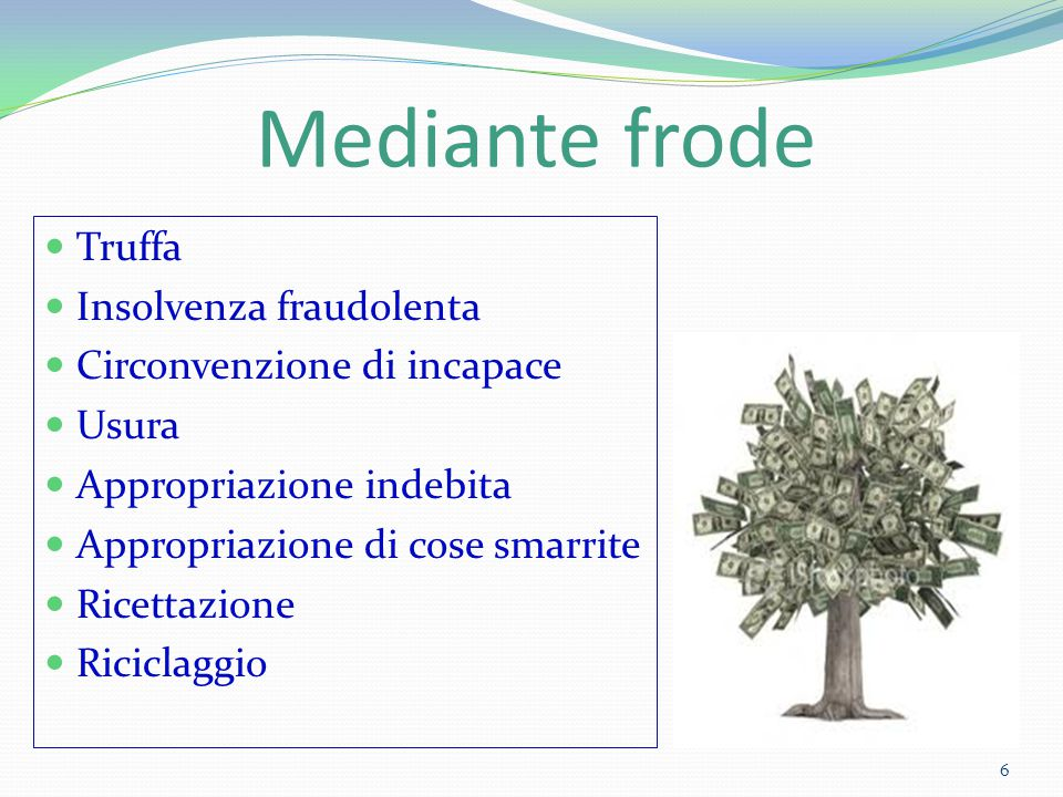 Mediante frode Truffa Insolvenza fraudolenta Circonvenzione di incapace Usura Appropriazione indebita Appropriazione di cose smarrite Ricettazione Ric