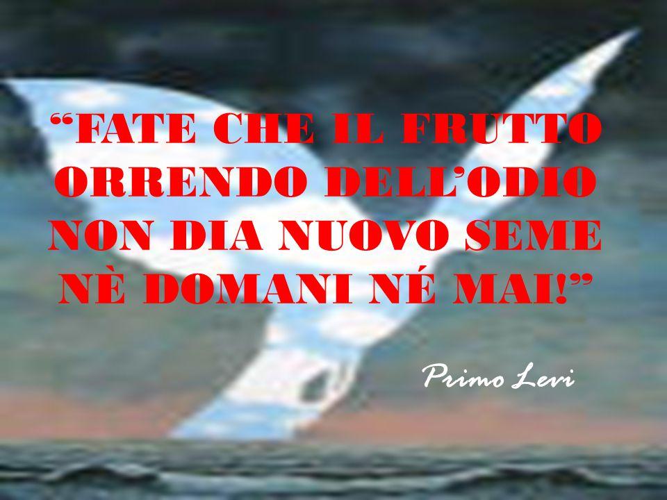 """""""FATE CHE IL FRUTTO ORRENDO DELL'ODIO NON DIA NUOVO SEME NÈ DOMANI NÉ MAI!"""" Primo Levi"""