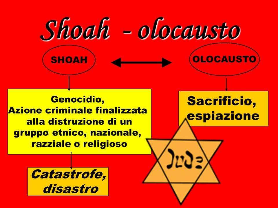 Shoah - olocausto SHOAH OLOCAUSTO Catastrofe, disastro Sacrificio, espiazione Genocidio, Azione criminale finalizzata alla distruzione di un gruppo et