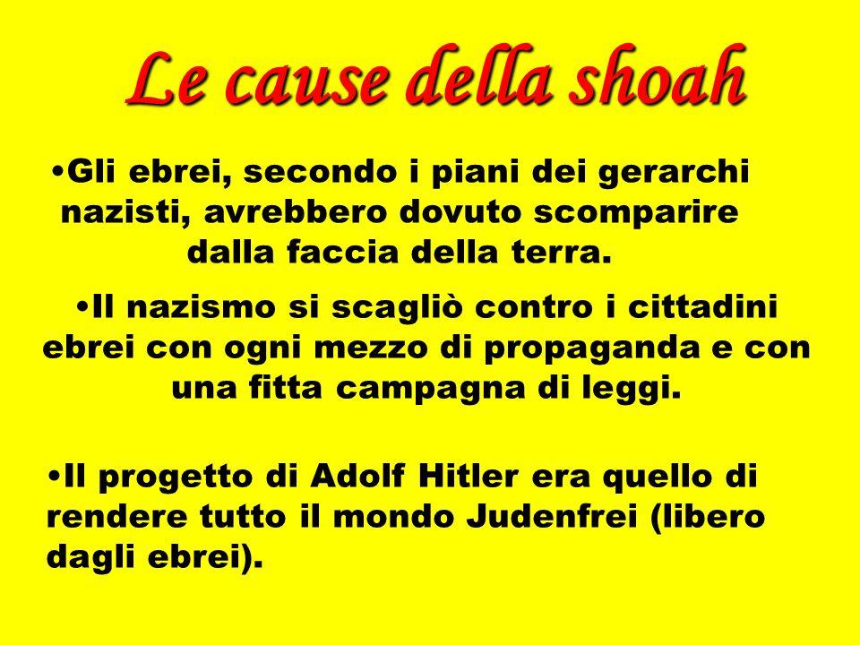 Le cause della shoah Gli ebrei, secondo i piani dei gerarchi nazisti, avrebbero dovuto scomparire dalla faccia della terra. Il progetto di Adolf Hitle