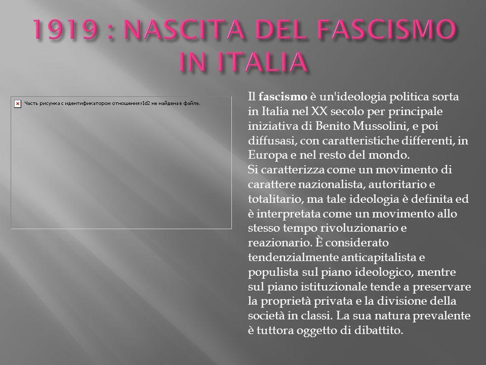 Il fascismo è un'ideologia politica sorta in Italia nel XX secolo per principale iniziativa di Benito Mussolini, e poi diffusasi, con caratteristiche