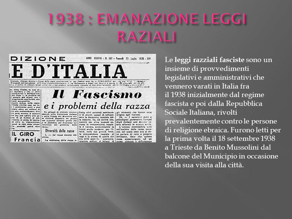 Le leggi razziali fasciste sono un insieme di provvedimenti legislativi e amministrativi che vennero varati in Italia fra il 1938 inizialmente dal reg