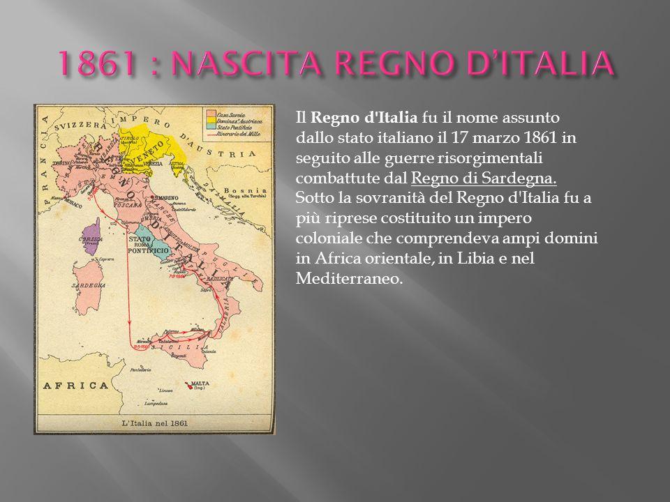 Il Regno d'Italia fu il nome assunto dallo stato italiano il 17 marzo 1861 in seguito alle guerre risorgimentali combattute dal Regno di Sardegna. Sot