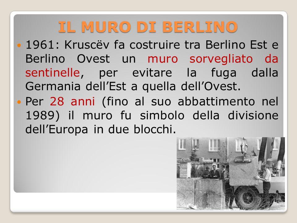 IL MURO DI BERLINO 1961: Kruscëv fa costruire tra Berlino Est e Berlino Ovest un muro sorvegliato da sentinelle, per evitare la fuga dalla Germania de