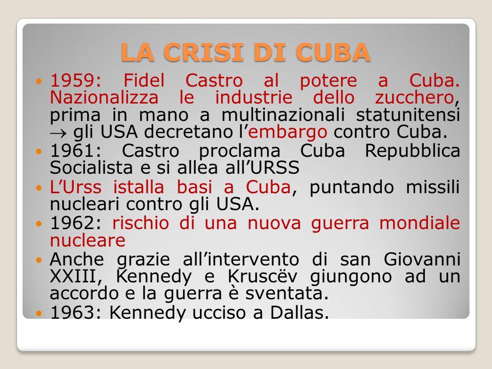 LA CRISI DI CUBA 1959: Fidel Castro al potere a Cuba. Nazionalizza le industrie dello zucchero, prima in mano a multinazionali statunitensi  gli USA