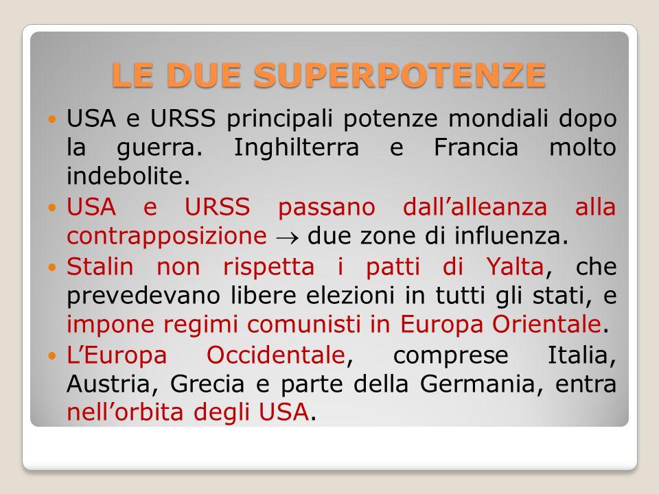 LE DUE SUPERPOTENZE USA e URSS principali potenze mondiali dopo la guerra. Inghilterra e Francia molto indebolite. USA e URSS passano dall'alleanza al