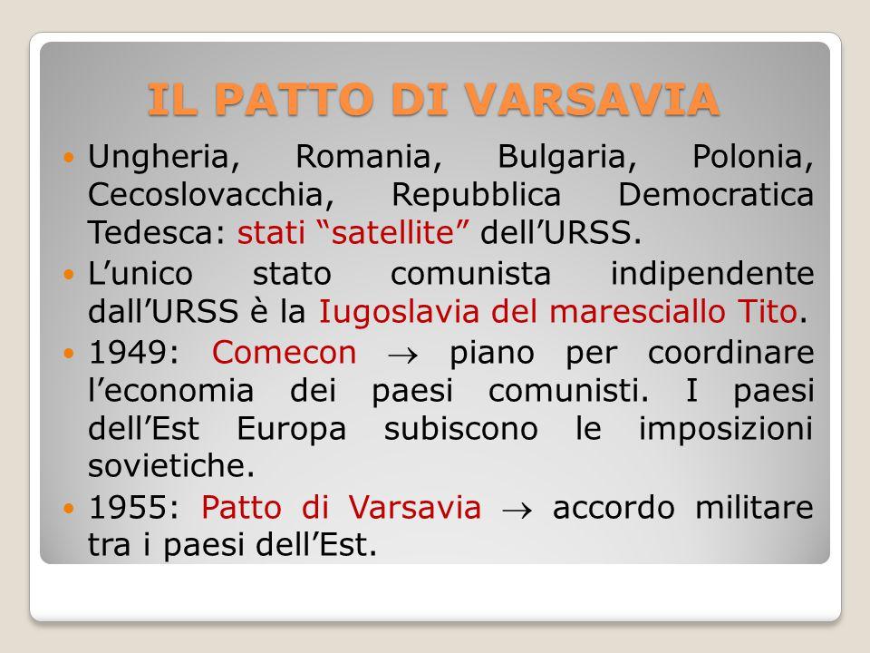 """IL PATTO DI VARSAVIA Ungheria, Romania, Bulgaria, Polonia, Cecoslovacchia, Repubblica Democratica Tedesca: stati """"satellite"""" dell'URSS. L'unico stato"""