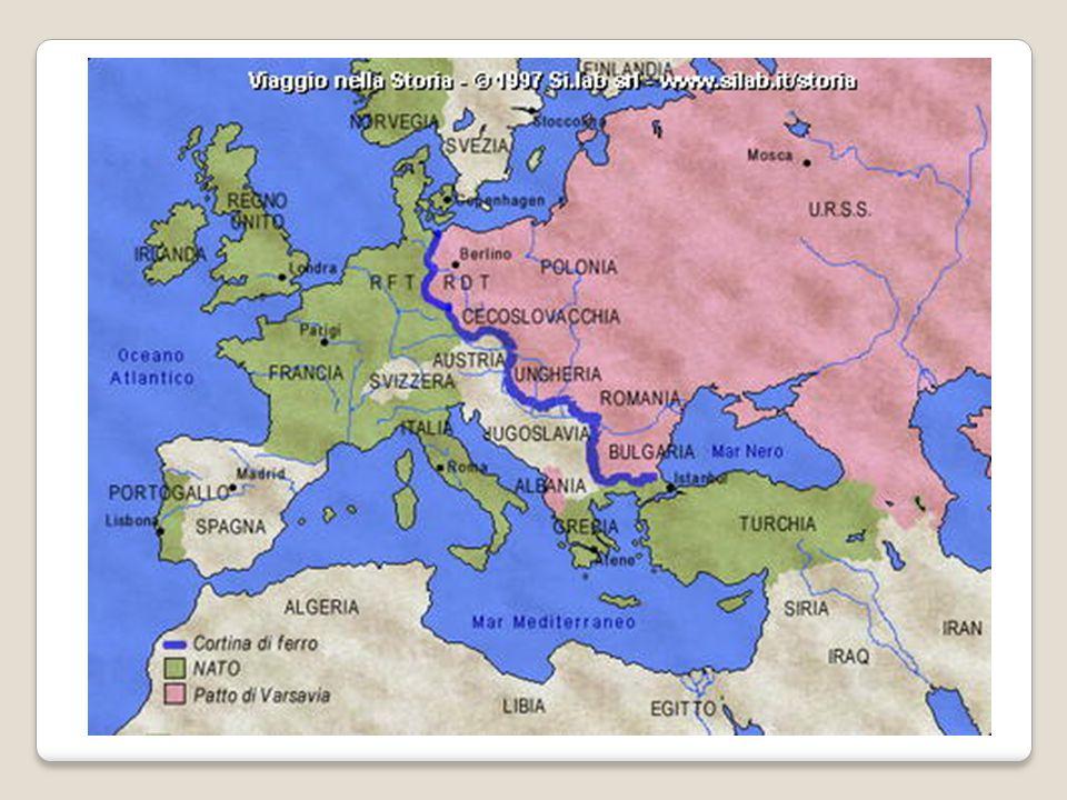 IL BIPOLARISMO Mondo diviso in due poli socio-economici: - Blocco Occidentale = economia capitalista - Blocco Orientale = economia collettivista Cortina di ferro (definizione di Churchill): linea ideale di divisione tra i due blocchi.