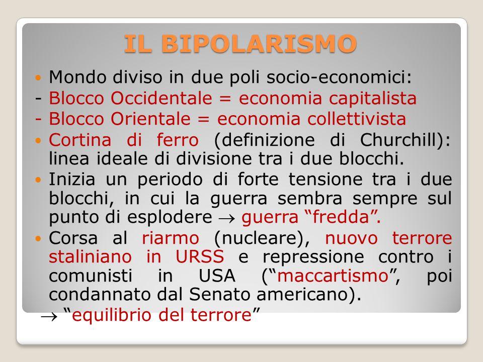 IL BIPOLARISMO Mondo diviso in due poli socio-economici: - Blocco Occidentale = economia capitalista - Blocco Orientale = economia collettivista Corti