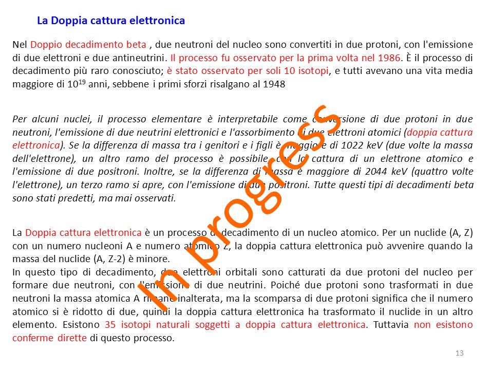 13 Per alcuni nuclei, il processo elementare è interpretabile come conversione di due protoni in due neutroni, l'emissione di due neutrini elettronici