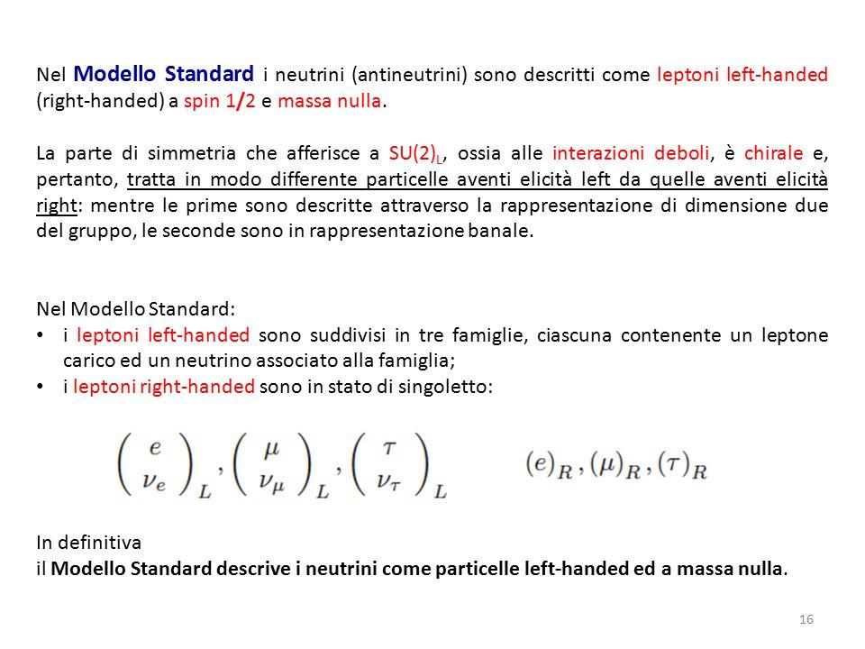 16 Nel Modello Standard i neutrini (antineutrini) sono descritti come leptoni left-handed (right-handed) a spin 1/2 e massa nulla. La parte di simmetr
