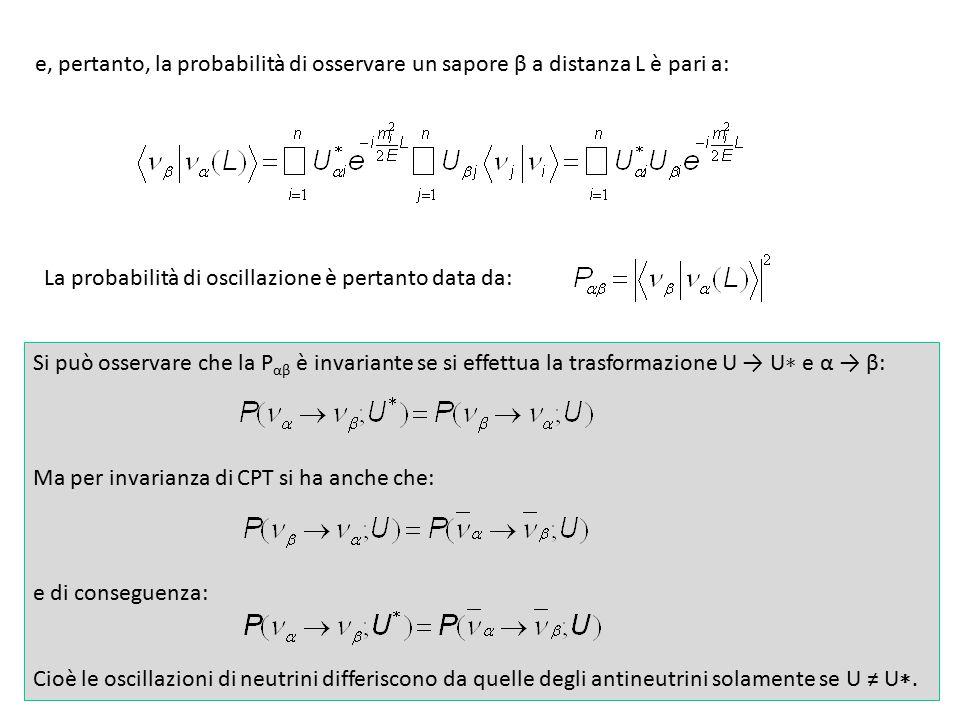 19 e, pertanto, la probabilità di osservare un sapore β a distanza L è pari a: La probabilità di oscillazione è pertanto data da: Si può osservare che la P αβ è invariante se si effettua la trasformazione U → U ∗ e α → β: Ma per invarianza di CPT si ha anche che: e di conseguenza: Cioè le oscillazioni di neutrini differiscono da quelle degli antineutrini solamente se U ≠ U ∗.
