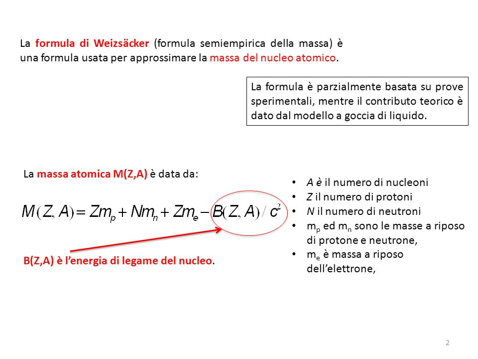 La formula semi-empirica afferma che l energia di legame B(Z,A) è data da: I coefficienti sono stati calcolati fittando i dati sperimentali delle misure della massa del nucleo.