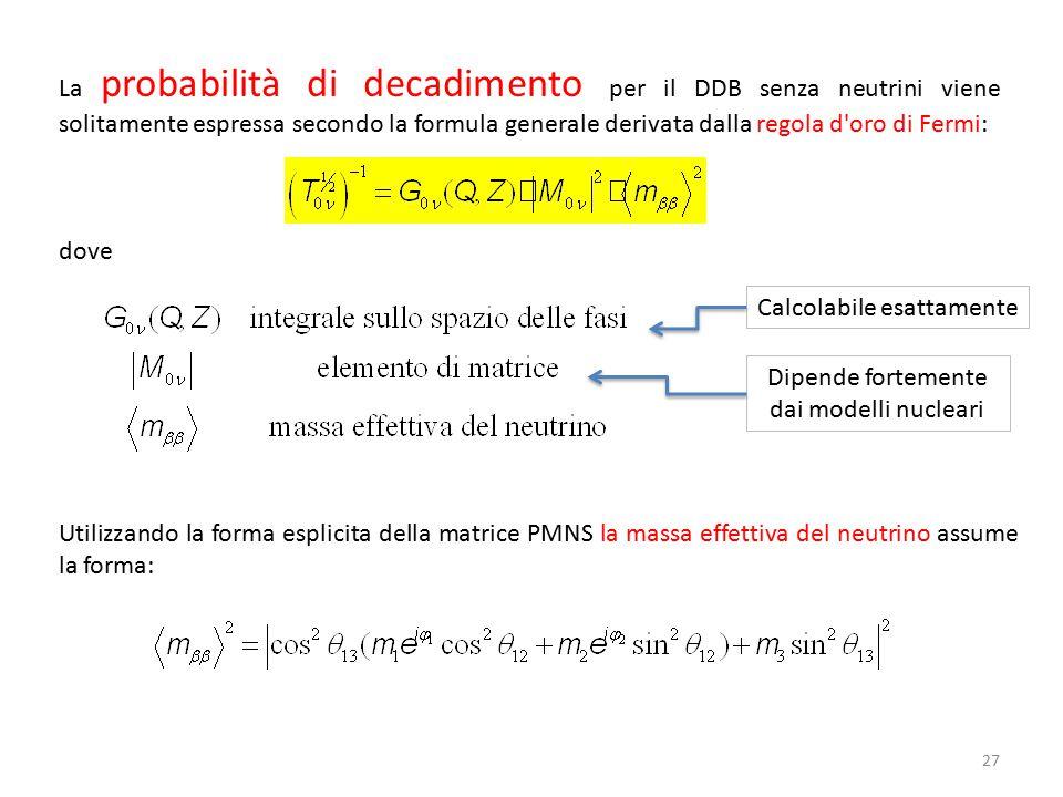 27 La probabilità di decadimento per il DDB senza neutrini viene solitamente espressa secondo la formula generale derivata dalla regola d'oro di Fermi