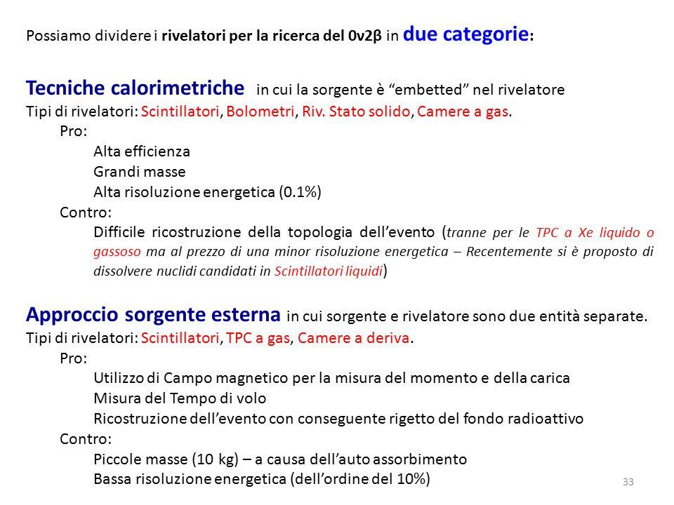 33 Possiamo dividere i rivelatori per la ricerca del 0ν2β in due categorie : Tecniche calorimetriche in cui la sorgente è embetted nel rivelatore Tipi di rivelatori: Scintillatori, Bolometri, Riv.